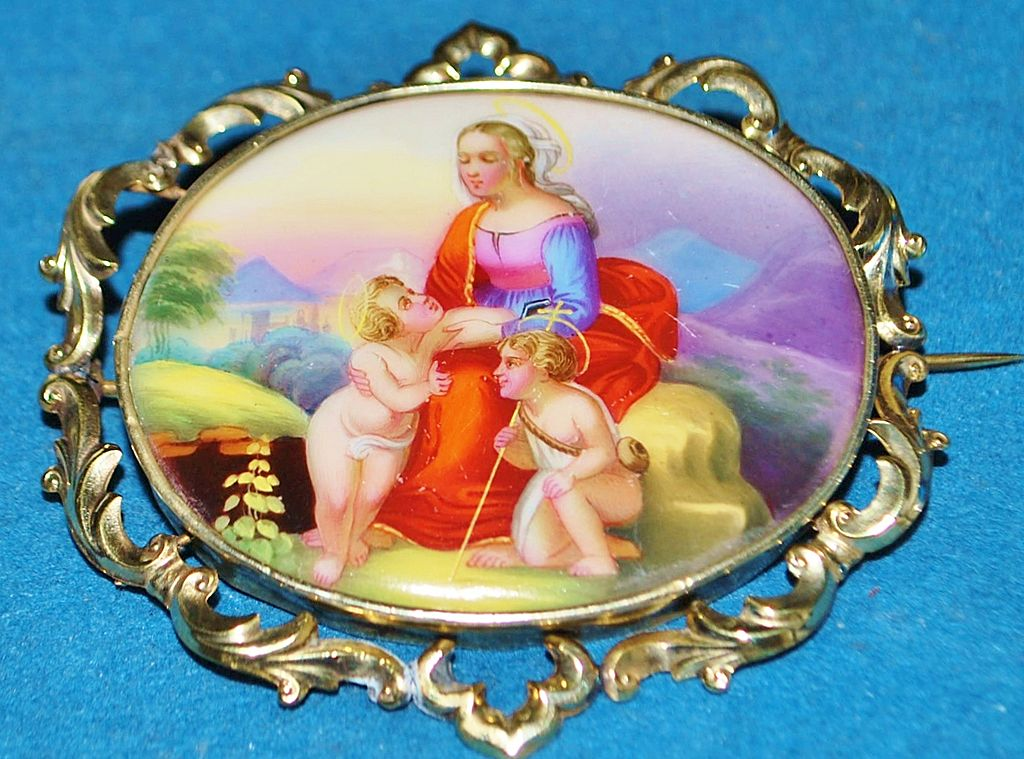 Large Victorian  German Hand Painted Classical Brooch, c. 1885