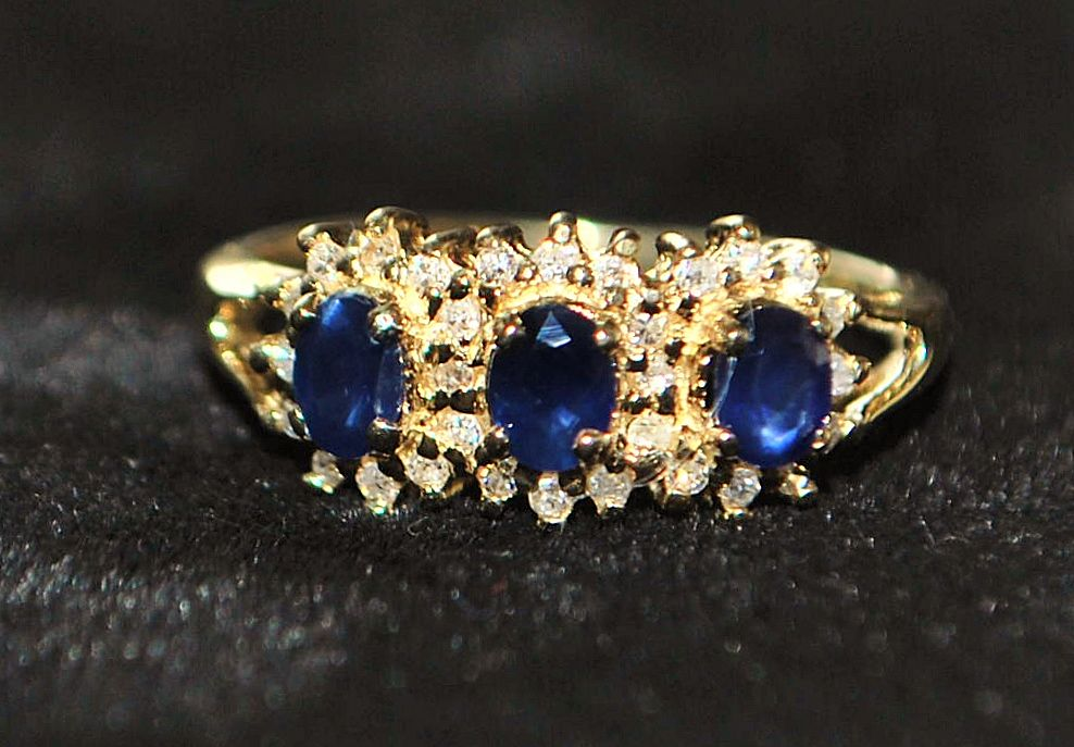 14K 3 Stone Sapphire and Diamond Ring -1980's