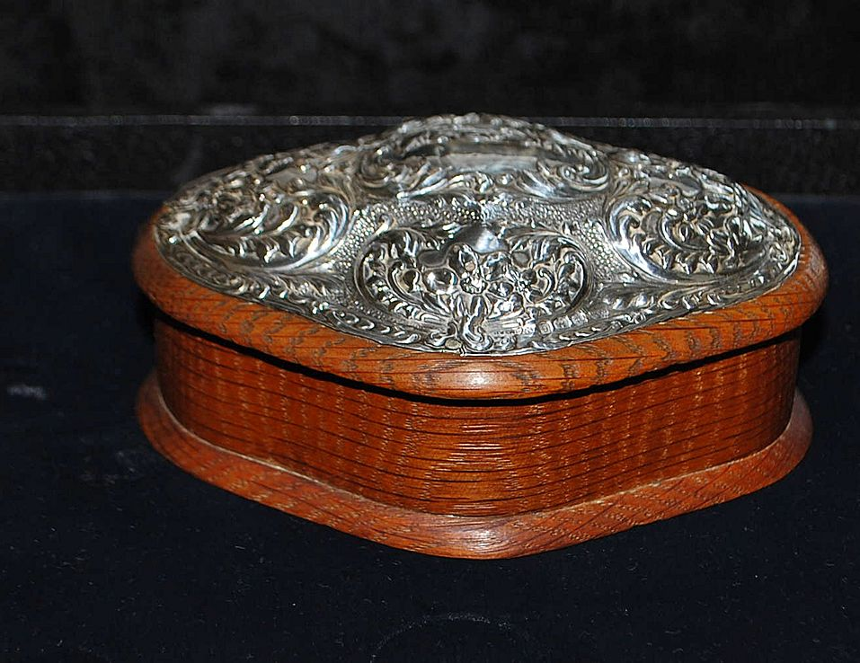 English Edwardian Sterling & Wood Jewelry Box,c.1904