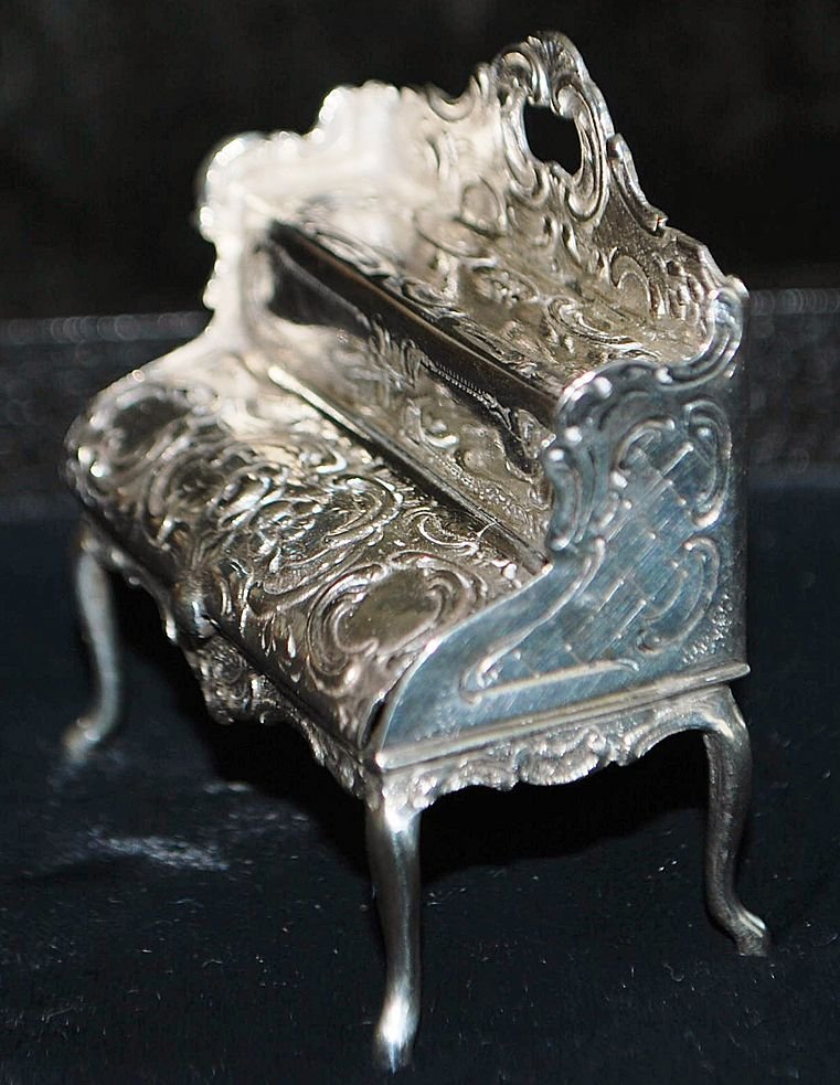 German 19th C Hanau 800 Silver Miniature Escritoire