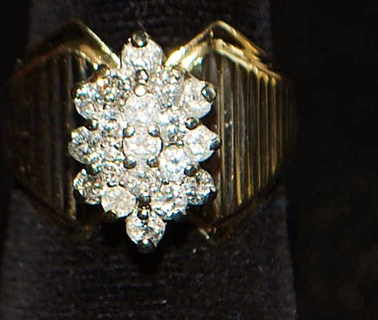 14K Diamond Pave Cluster Cocktail  Ring - 1960's