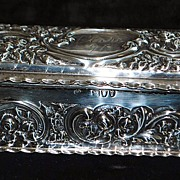 English Art Nouveau Sterling Silver Box, 1897