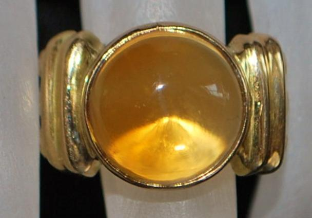 14K Large Citrine and Gold Fashion Ring - 1980's