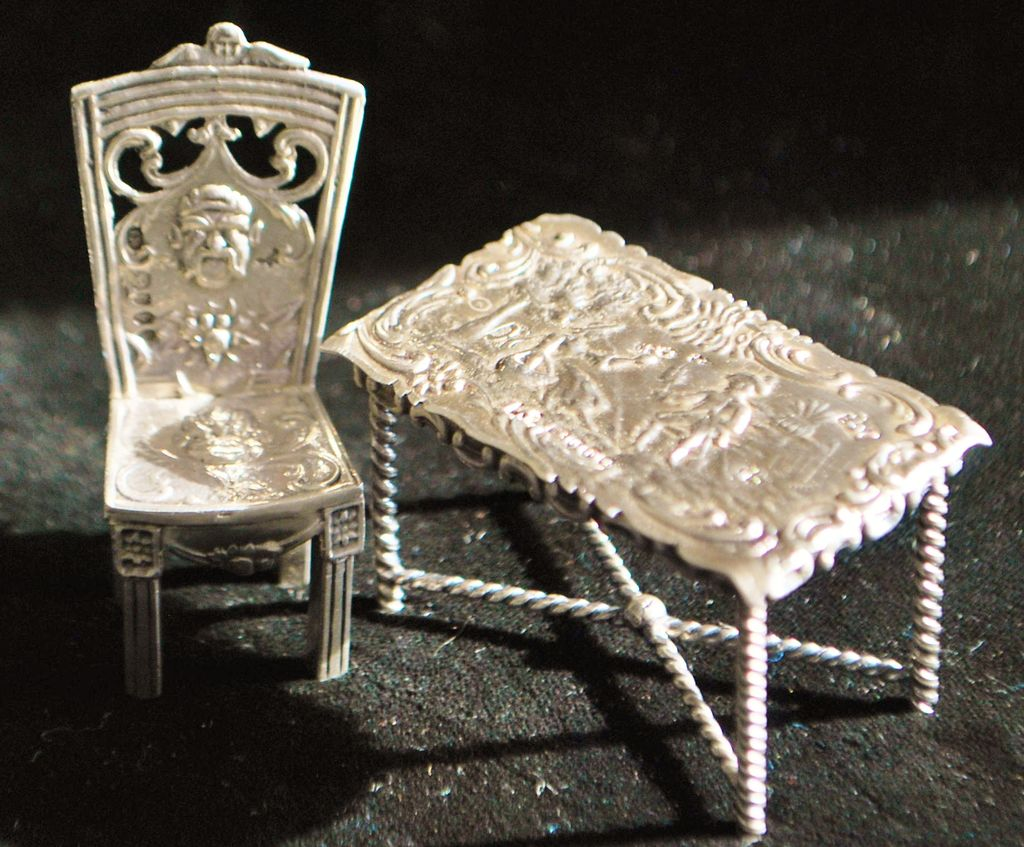 Dutch Miniature Silver Table and Chair, c. 1895 - Doll House
