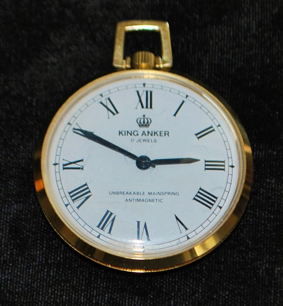 King Anker 17 Jewel Gold Plated Pocket Watch