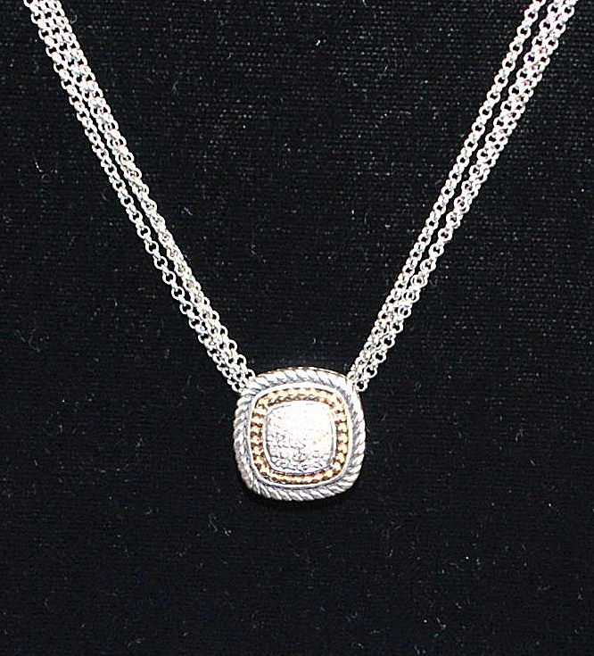Italian 14k and Sterling Pave Diamond Necklace