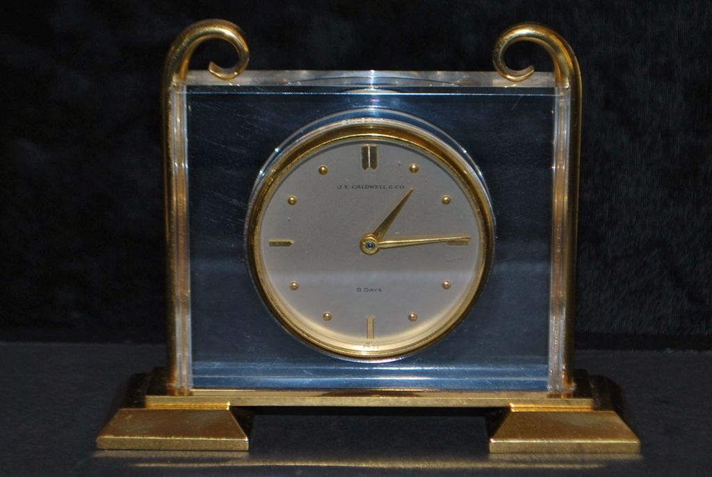 J. E. Caldwell & Co. Gild Brass Table Clock -1950's