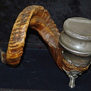 English  Horn and Pewter  Snuff Table Mull, c. 1875