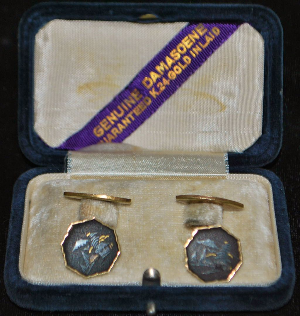 Pair of 24K Japanese Inlaid Cuff Links, c. 1920 - Boxed