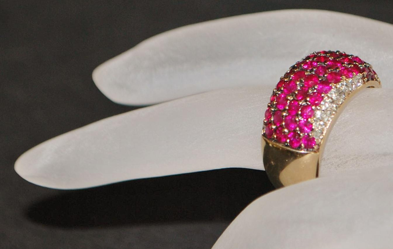 14K  Pave Ruby and Diamond Band Ring - 1960's