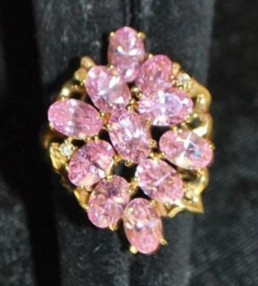 14K Pink  Fire Cluster Cocktail Ring