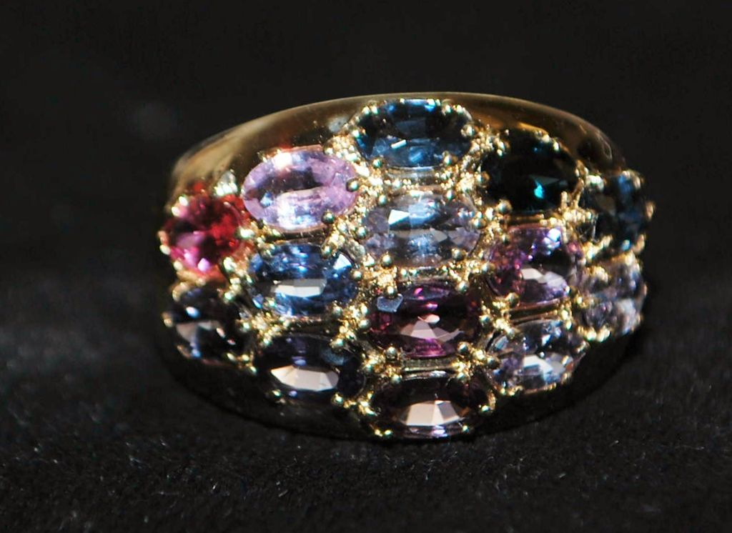 14k Colorful Multi Stone Gem Stone Cocktail Ring 1970 S