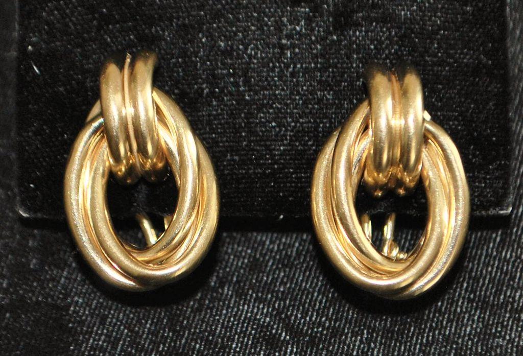 Pair of 14K Retro Heavy Knot Earrings, 1960's