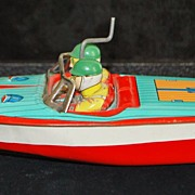 Japanese Tin Litho  Winding Toy Boat, c. 1950
