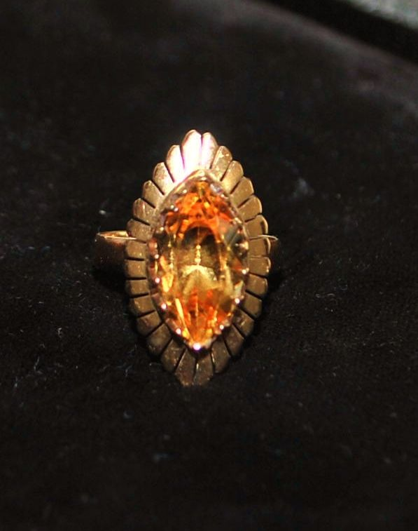 14K Retro Madera Citrine Cocktail Ring, 1960's