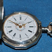 "Swiss Sterling""Lady Racine"" Lapel Watch, c. 1885"