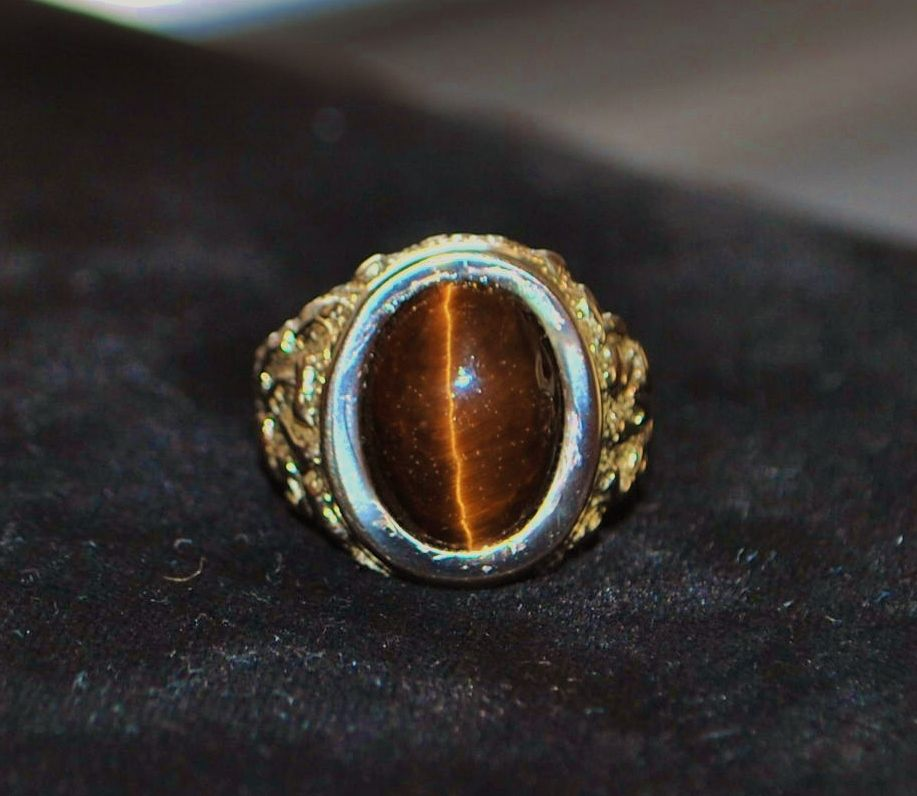 14K Man's Tiger Eye Ring, 1980's