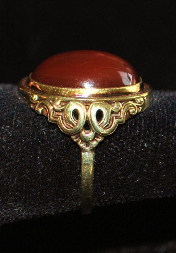 14K Italian Art Deco Sard Signet Ring, c.1930