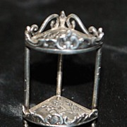 English Miniature Tri-Corner Sterling Table, c. 1900