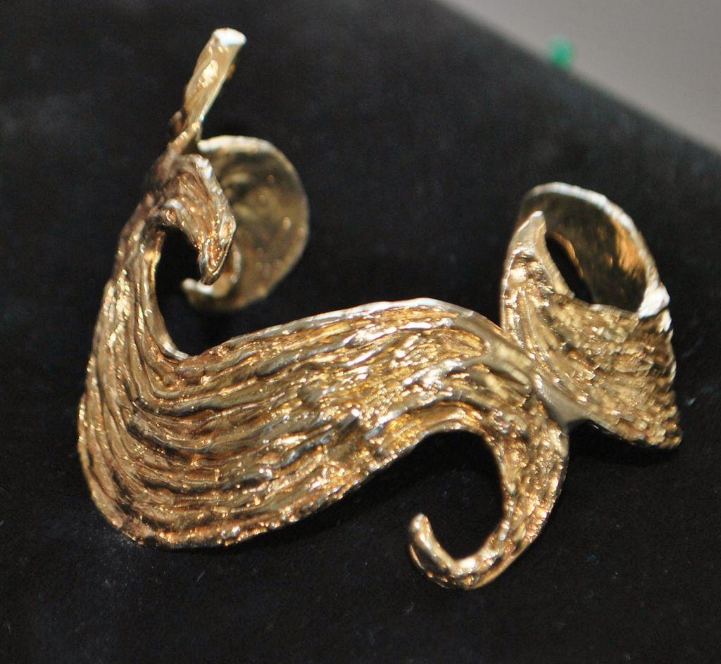 Modernist Designer 18K gold over Sterling Bangle,1990's
