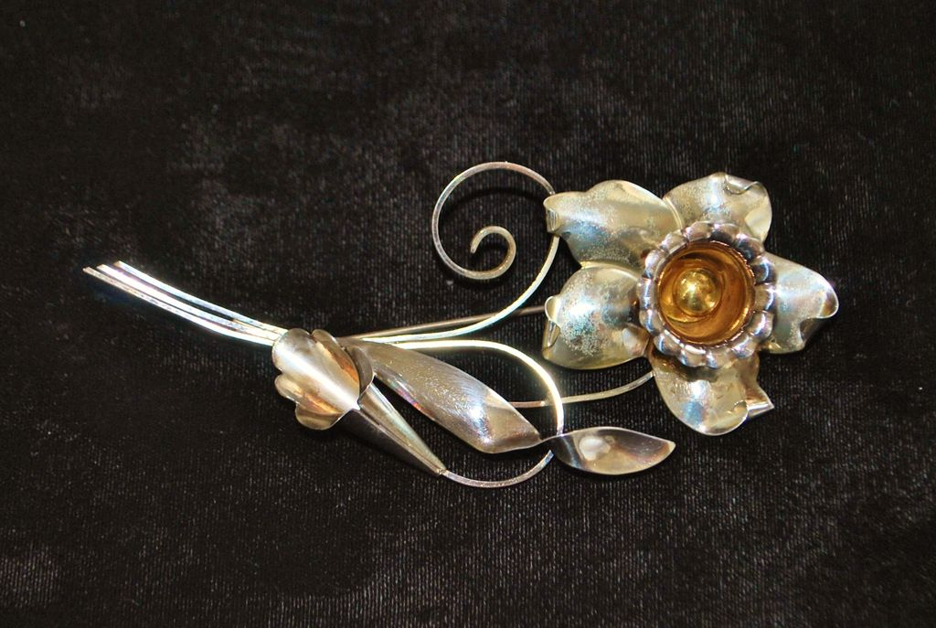 Large Sterling  Glam Floral  Brooch - 1940's