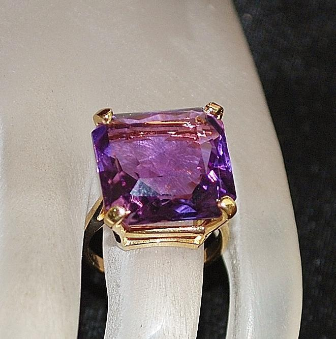 14K 10ct Amethyst Cocktail Ring - 1960's