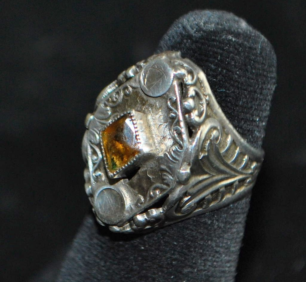 Victorian Cairngorm and Sterling Silver Ring, c. 1890
