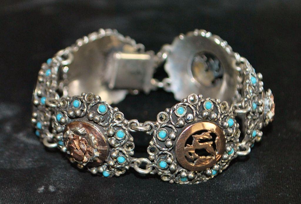 Fancy 800 Silver and Blue Enamel Bracelet, c. 1930