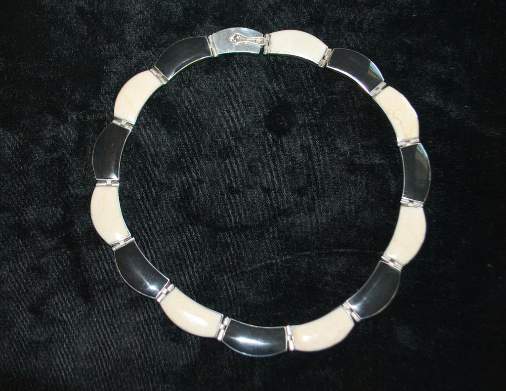 Sterling Inlaid Black and White Onyx Necklace - 1980's