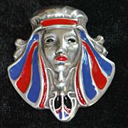 Art Deco Cleopatra Enamel Sterling Silver Brooch-1920'S