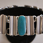 Heavy Sterling Silver Inlaid Stone Bracelet