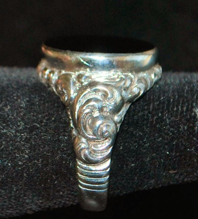 German 800 Silver Black Onyx Signet ring, c. 1900
