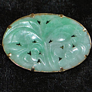 14K Chinese Carved Jade Brooch, c. 1920