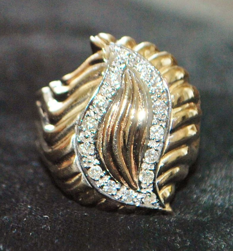 14K Large Retro Diamond Cocktail Ring - 1960's