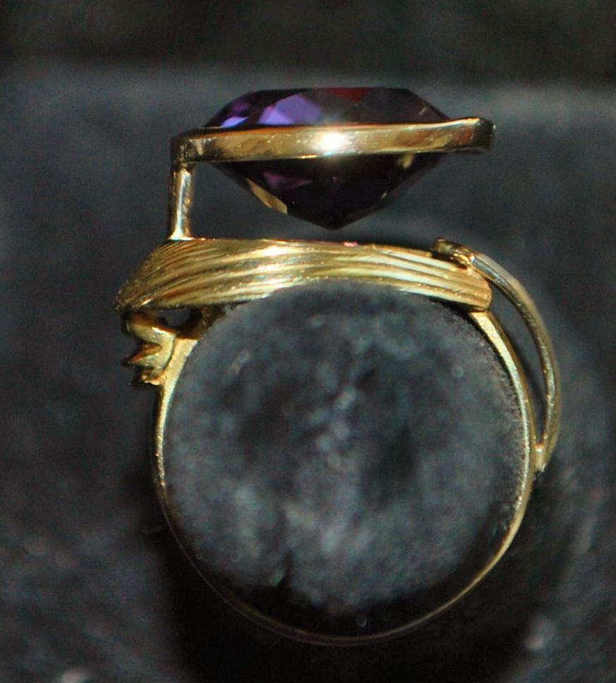 14K Modernist Large Amethyst Ring, 1960's