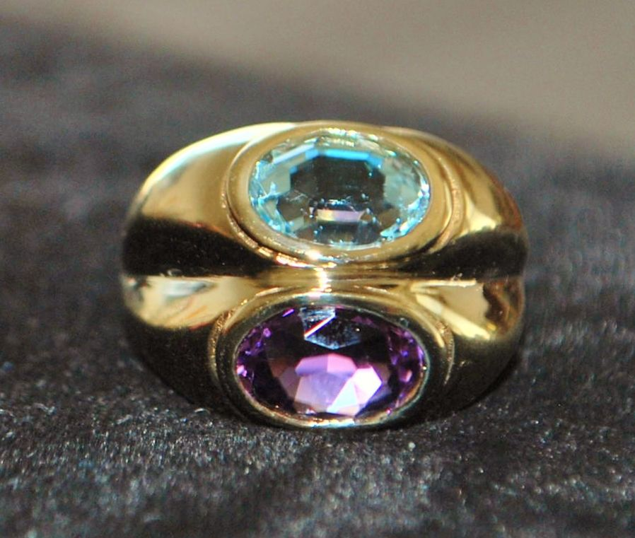 14K Amethyst and Blue Topaz Stacking Ring - 1980's