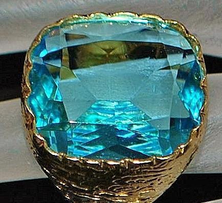 14K Large Custom 20ct Blue Labradorite Signet Ring - 1980's