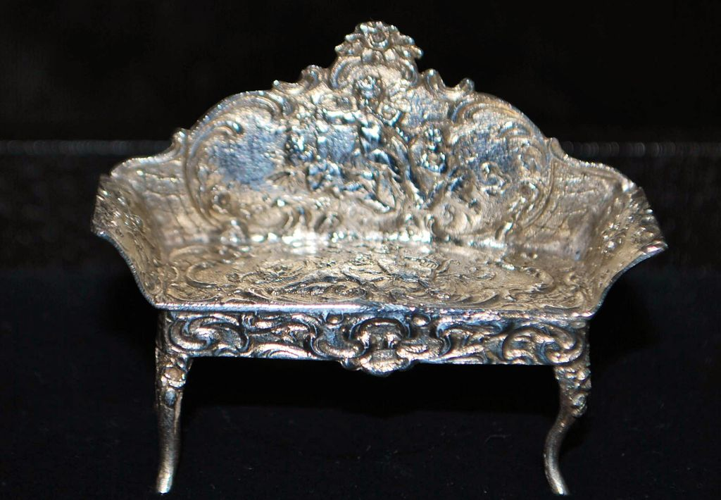 Miniature French  Silver Salon Couch -1890's