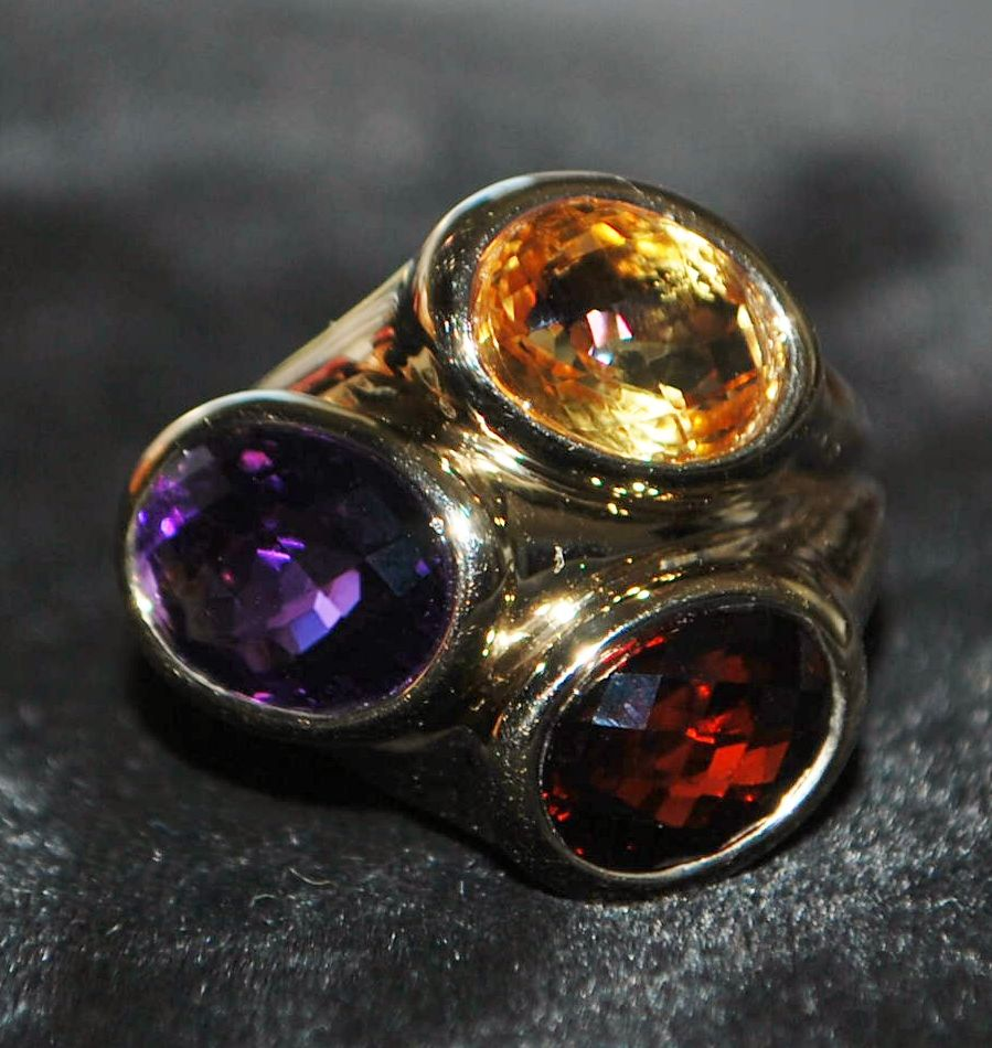 14K Tri -Colored Stone Cocktail Ring - 1980's