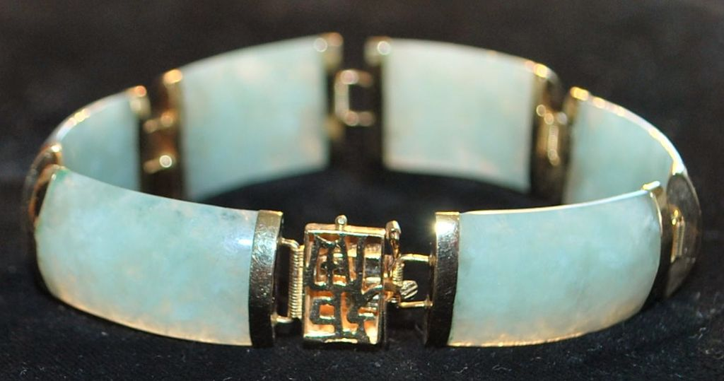 14K Chinese Gold  and Green Jade Bracelet - 1970's
