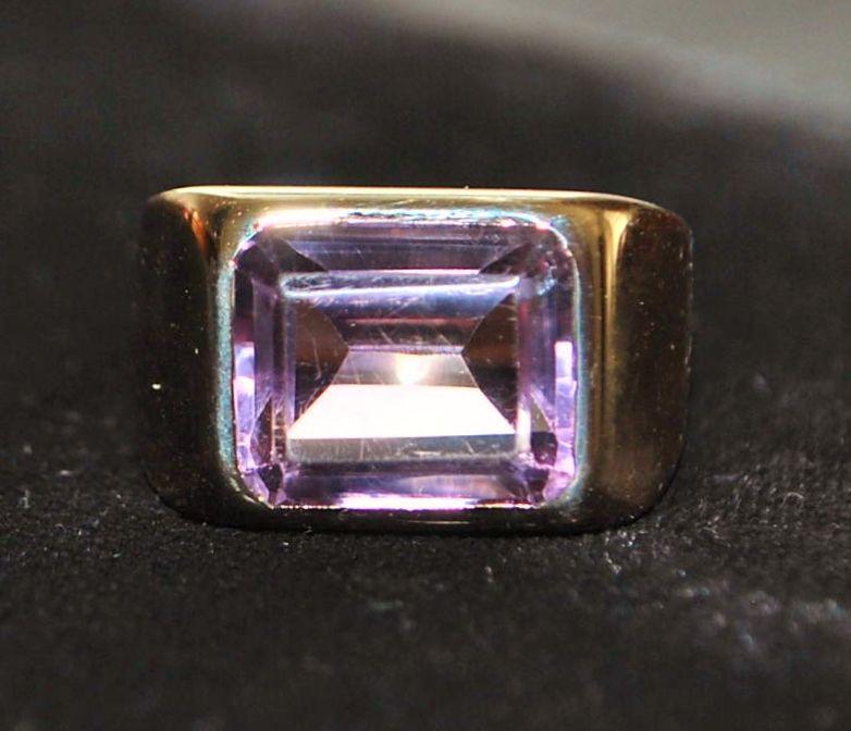 14K 5ct Lavender Amethyst Signet Ring - 1980's