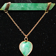 18K Apple Green Jade Brooch with Jade Heart Drop - 1920's