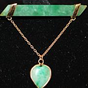 18K Apple Green Jade Brooch with Jade Heart Drop - 1920's