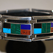 Fine Colorful 950 Silver Multi-Stone Inlaid Bracelet - 1980's