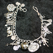"Sterling Silver  ""Sports"" Theme Charm Bracelet - 1960's"