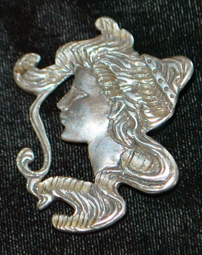 Large Sterling Silver Brooch of a Woman - 1970's