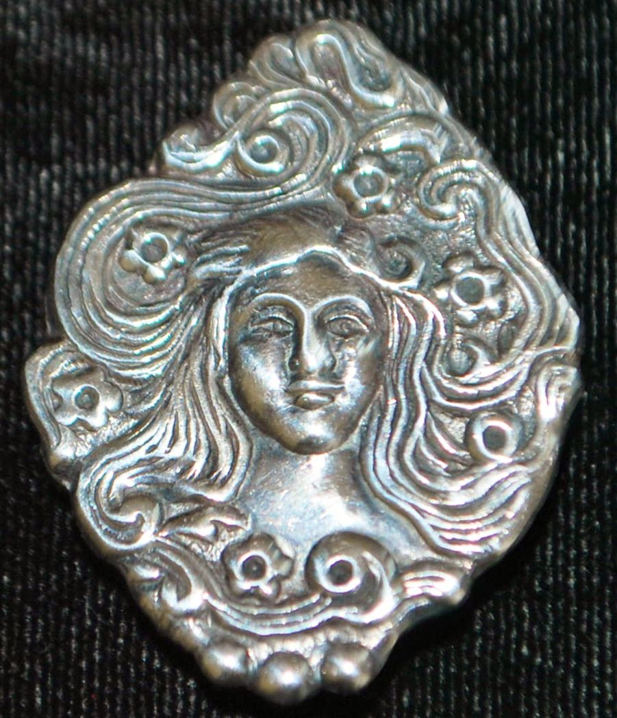 "Sterling  Silver Brooch in the style of ""Mucha"" - 1970's"