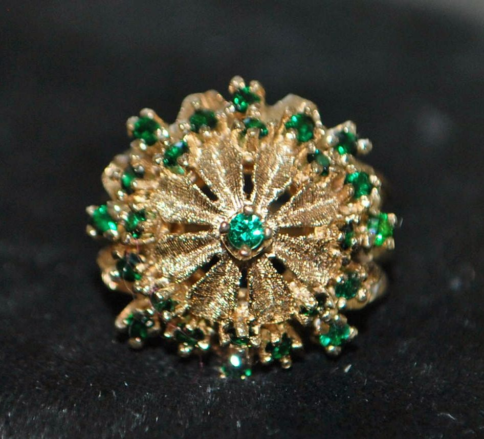 14K  Emerald Princess Dome Cocktail Ring - 1960's