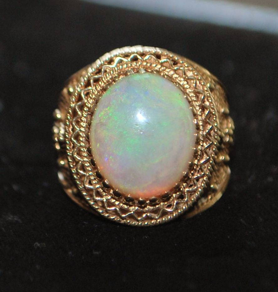 14K Large  Opal Cocktail Ring - 1960's