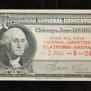 Republican National Convention Pass, 1932